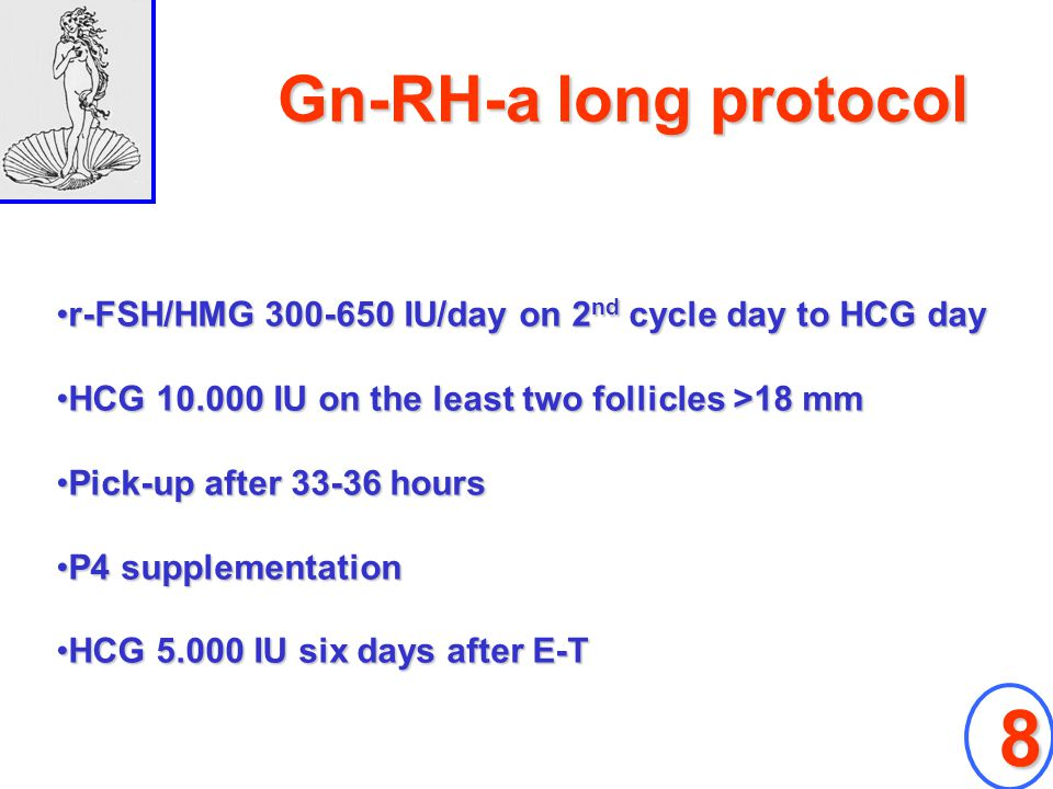 Gn-RH-a long protocol r-FSH/HMG 300-650 IU/day on 2nd cycle day to HCG day. HCG 10.000 IU on the least two follicles >18 mm.