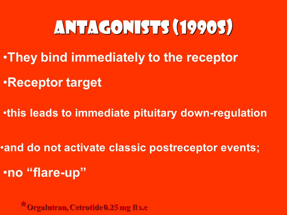 Antagonists (1990s) They bind immediately to the receptor