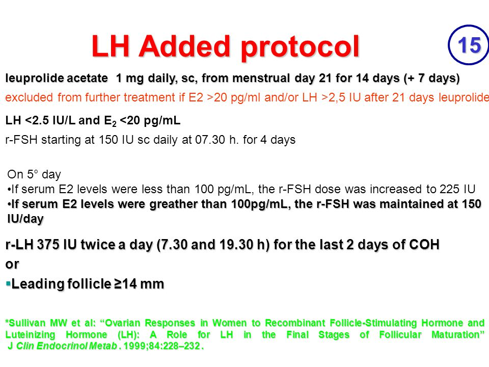 LH Added protocol 15. leuprolide acetate 1 mg daily, sc, from menstrual day 21 for 14 days (+ 7 days)