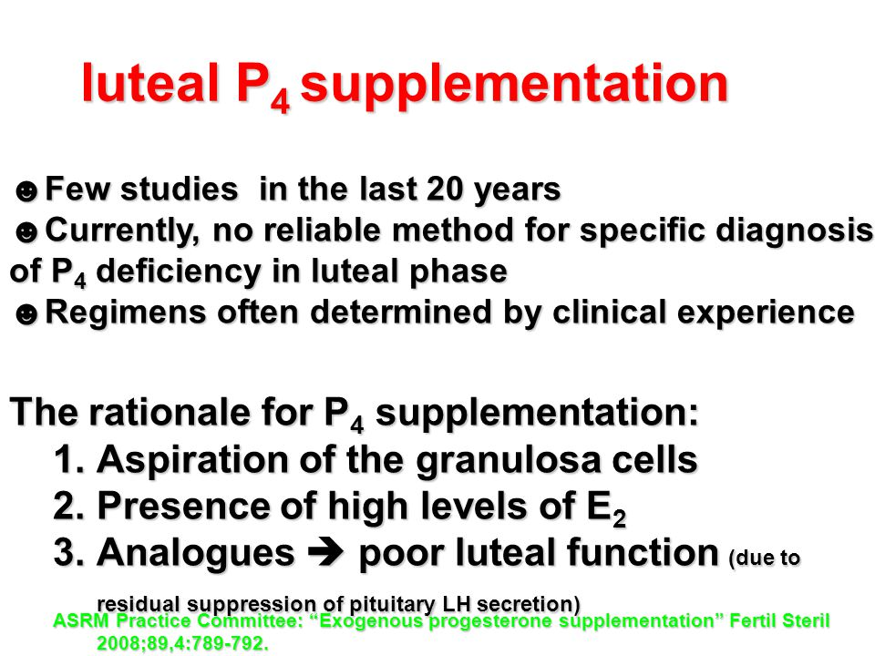 luteal P4 supplementation