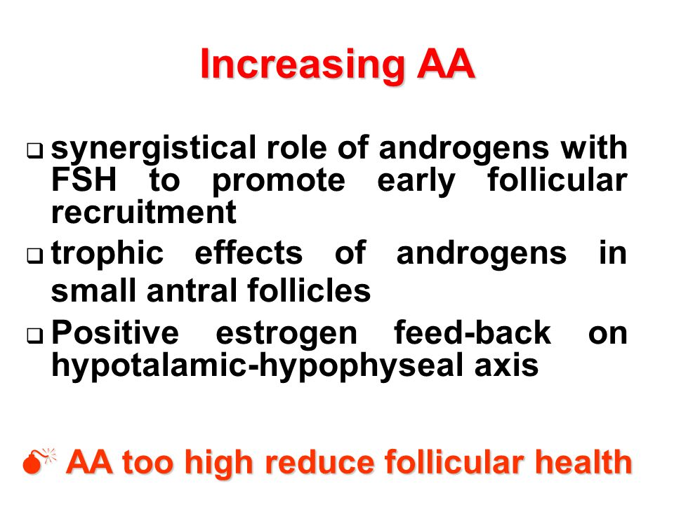 Increasing AA synergistical role of androgens with FSH to promote early follicular recruitment.