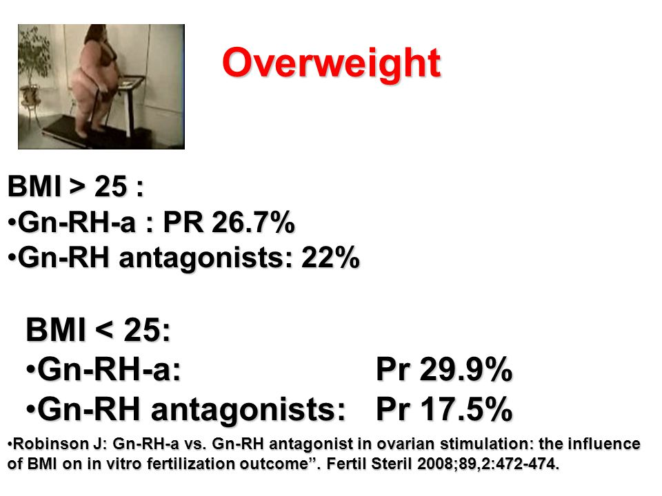 Overweight BMI < 25: Gn-RH-a: Pr 29.9% Gn-RH antagonists: Pr 17.5%
