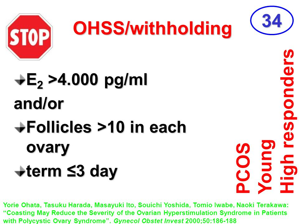 34 OHSS/withholding High responders Young PCOS E2 >4.000 pg/ml