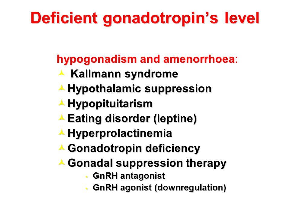 Deficient gonadotropin's level