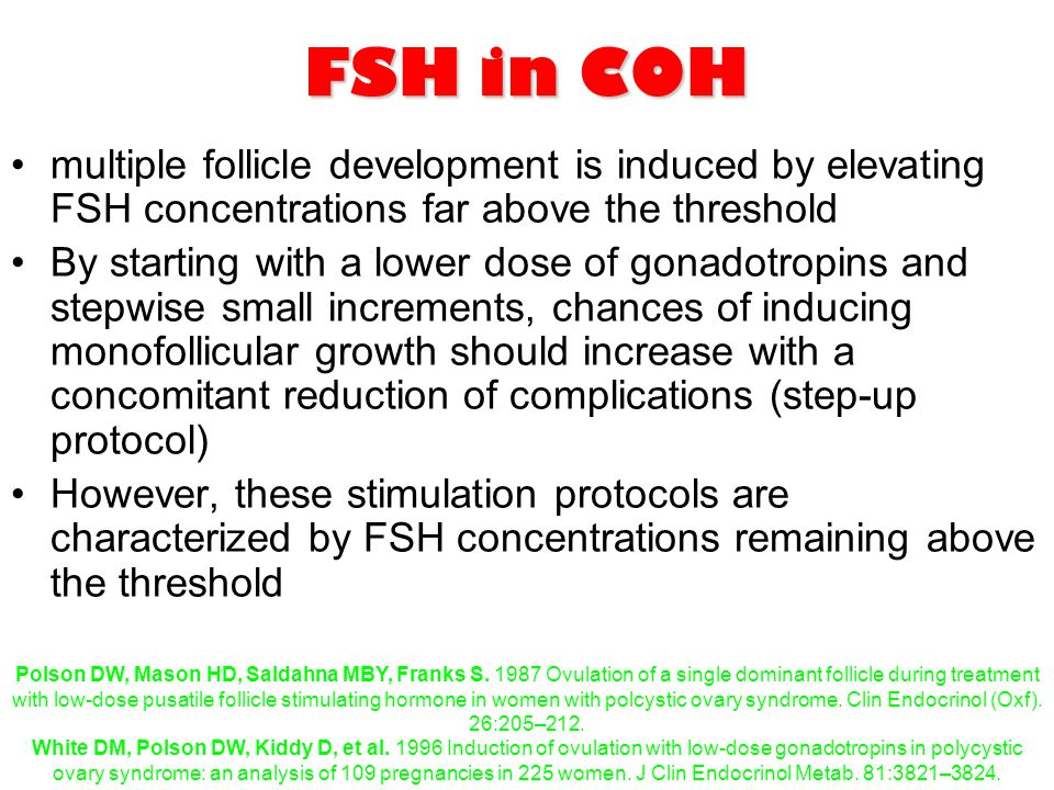 FSH in COH multiple follicle development is induced by elevating FSH concentrations far above the threshold.