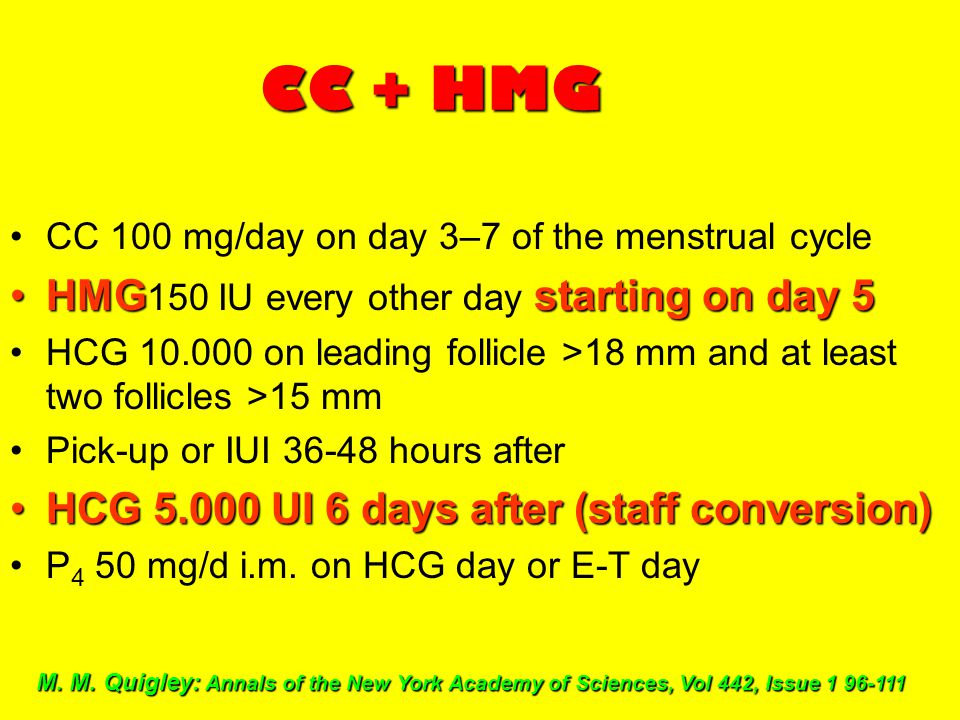 CC + HMG HMG150 IU every other day starting on day 5