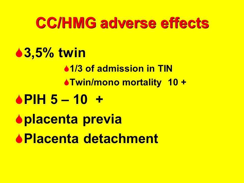 CC/HMG adverse effects