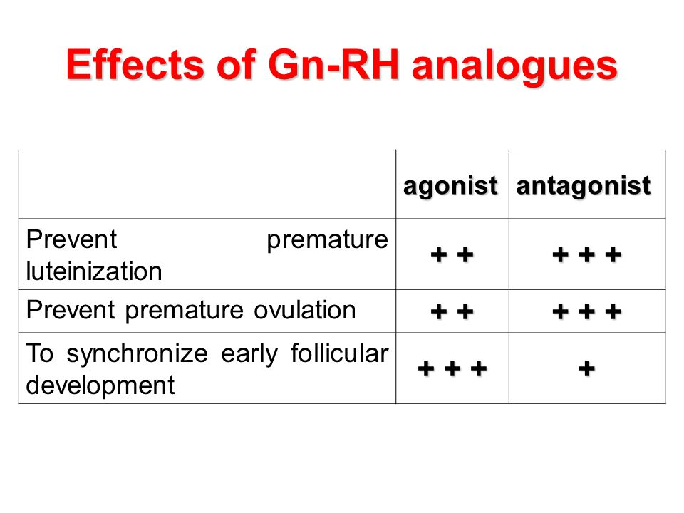 Effects of Gn-RH analogues