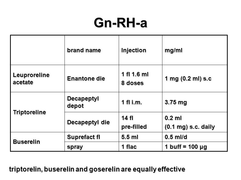 Gn-RH-a triptorelin, buserelin and goserelin are equally effective