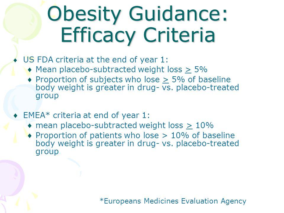 Obesity Guidance: Efficacy Criteria