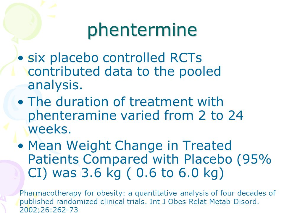 phentermine six placebo controlled RCTs contributed data to the pooled analysis.