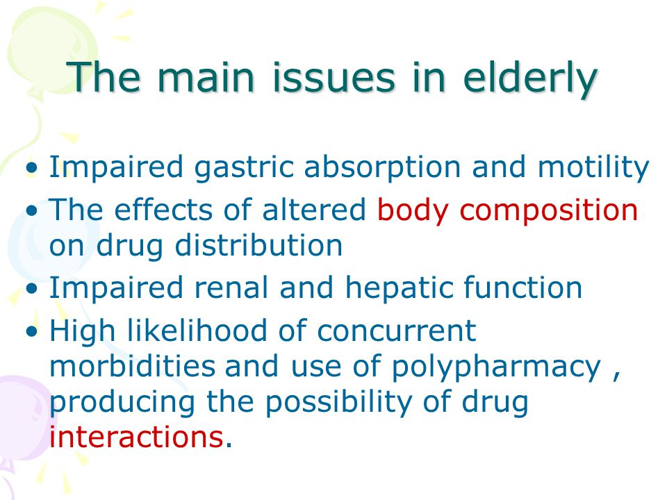 The main issues in elderly
