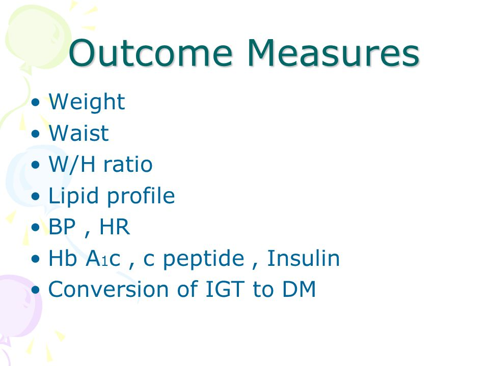 Outcome Measures Weight Waist W/H ratio Lipid profile BP , HR