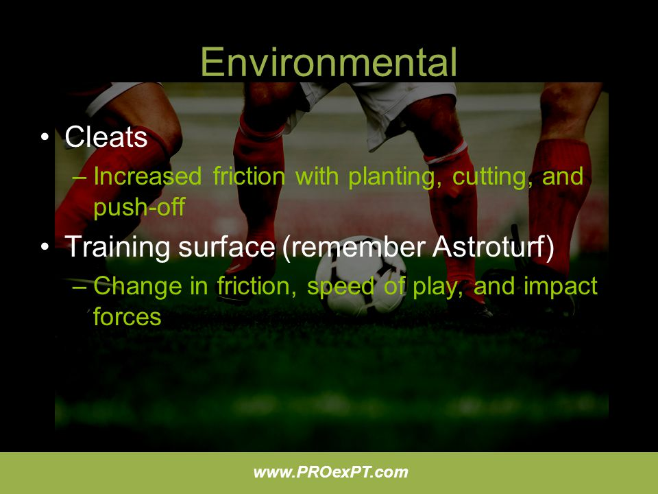 Environmental Cleats Training surface (remember Astroturf)