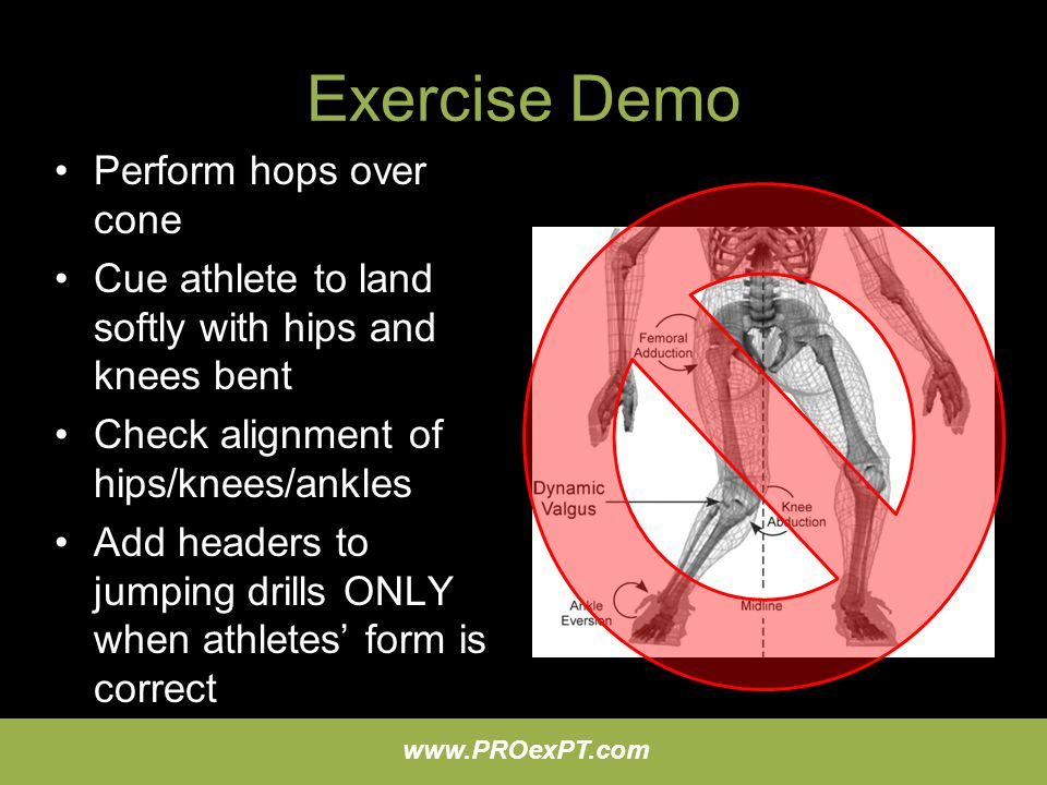 Exercise Demo Perform hops over cone
