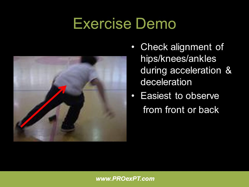 Exercise Demo Check alignment of hips/knees/ankles during acceleration & deceleration. Easiest to observe.