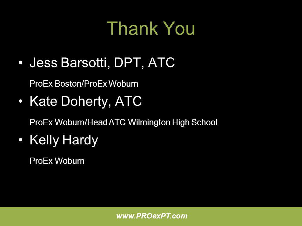 Thank You Jess Barsotti, DPT, ATC ProEx Boston/ProEx Woburn