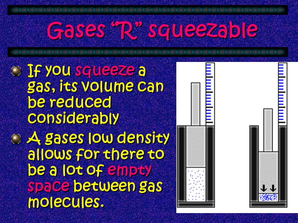 Gases R squeezable If you squeeze a gas, its volume can be reduced considerably.