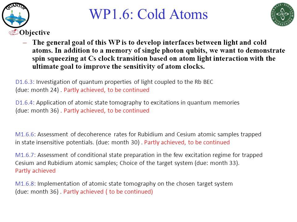 WP1.6: Cold Atoms QUANTOP Objective