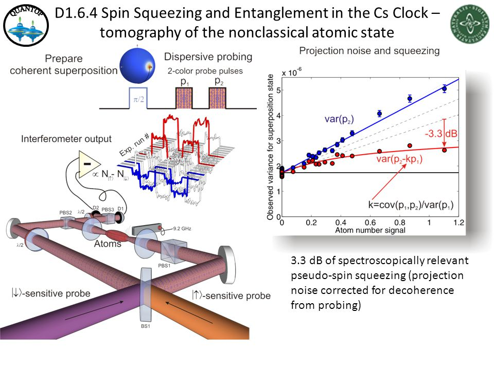 D1.6.4 Spin Squeezing and Entanglement in the Cs Clock – tomography of the nonclassical atomic state