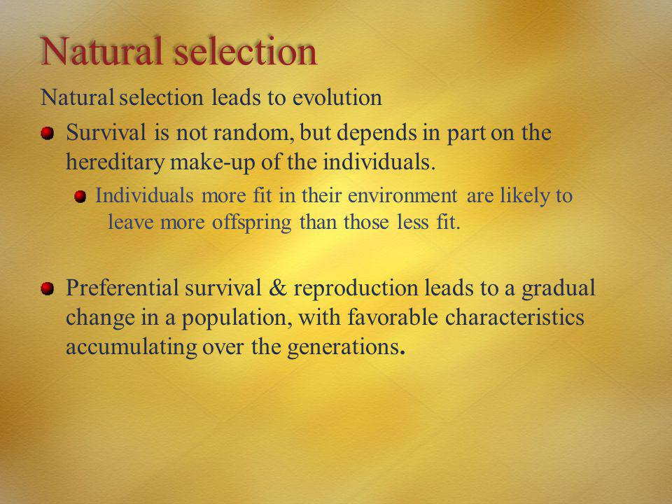 Natural selection Natural selection leads to evolution