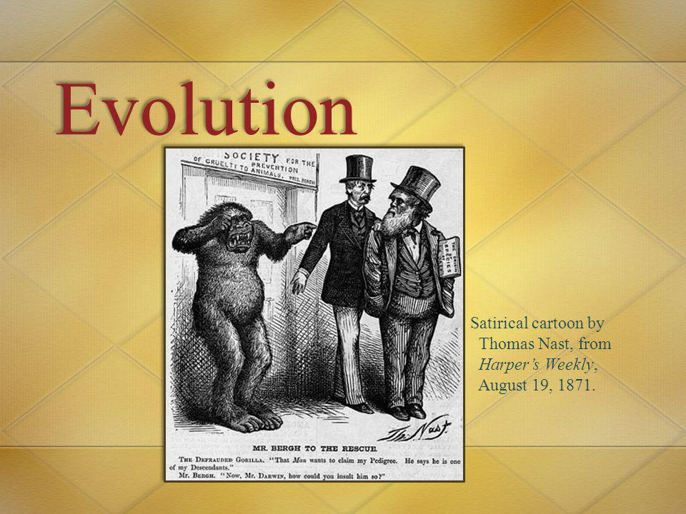 Evolution Satirical cartoon by Thomas Nast, from Harper's Weekly,