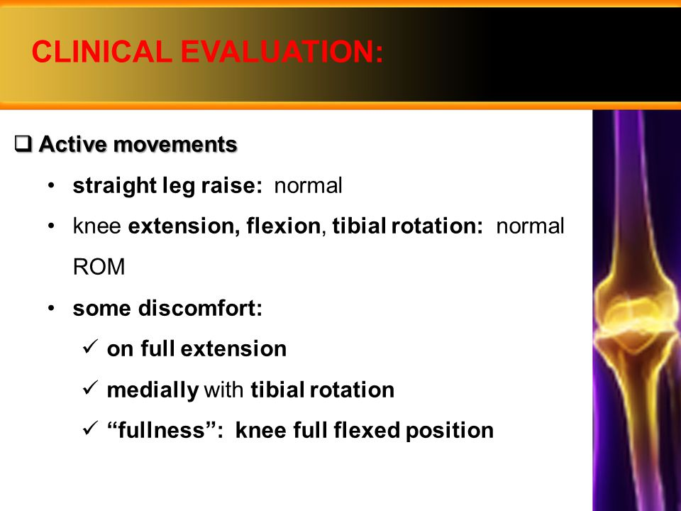 CLINICAL EVALUATION: Active movements straight leg raise: normal