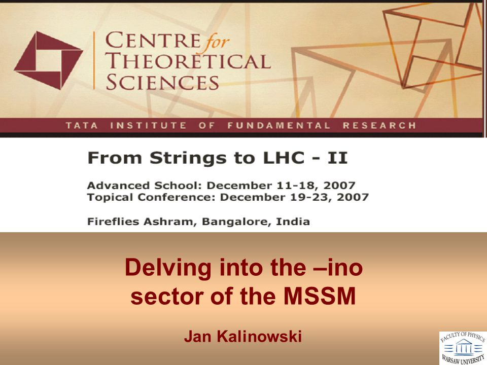Delving into the –ino sector of the MSSM Jan Kalinowski