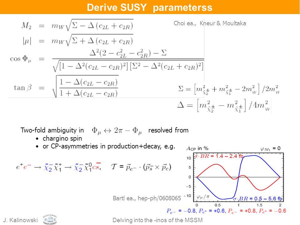 Derive SUSY parameterss