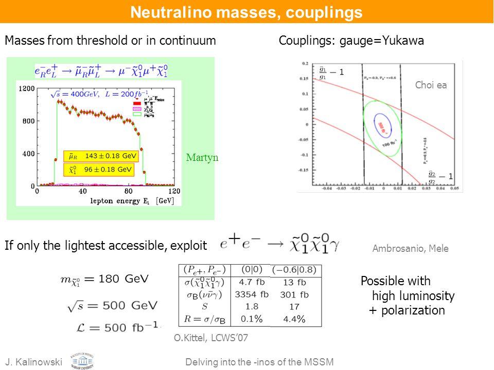 Neutralino masses, couplings