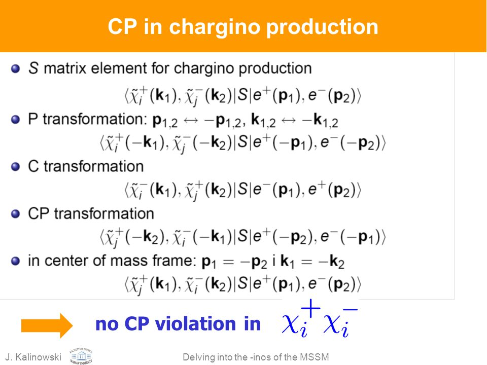 CP in chargino production