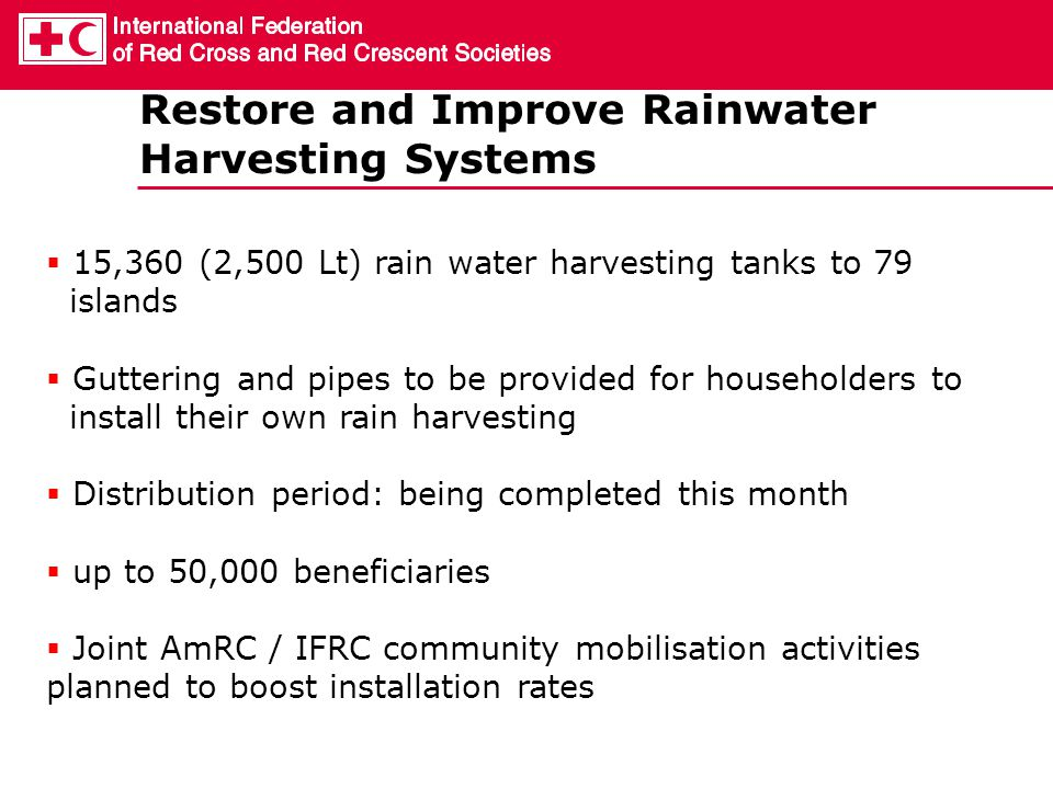 Restore and Improve Rainwater Harvesting Systems