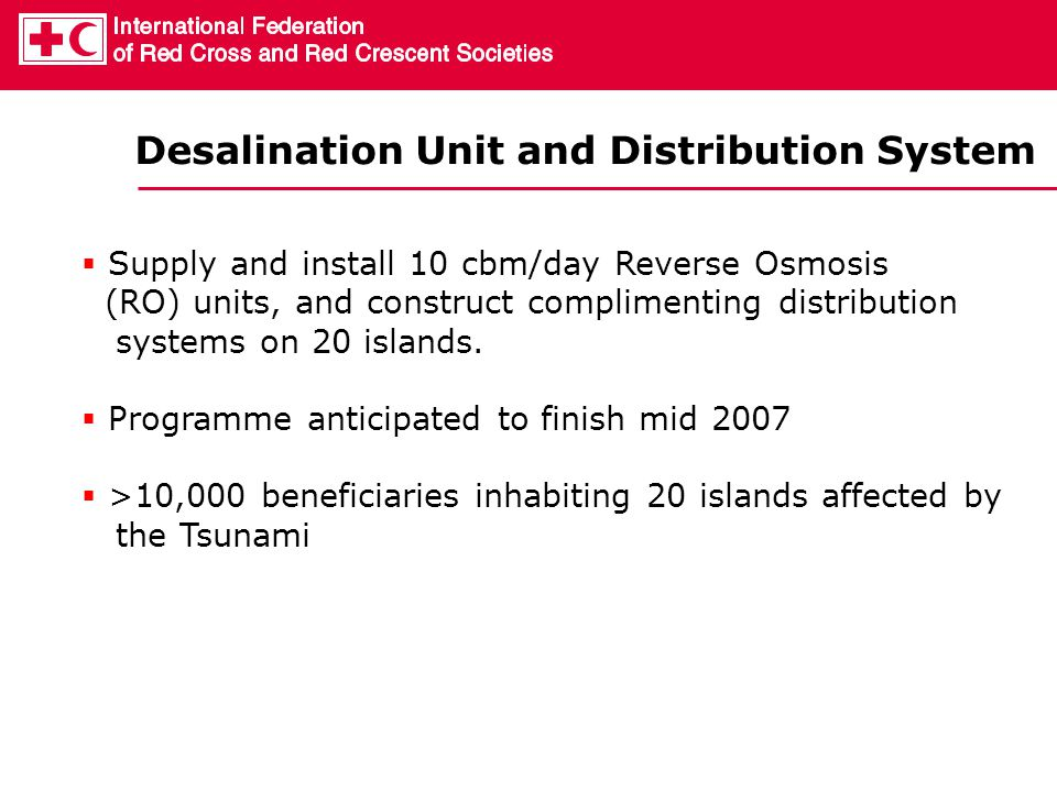 Desalination Unit and Distribution System