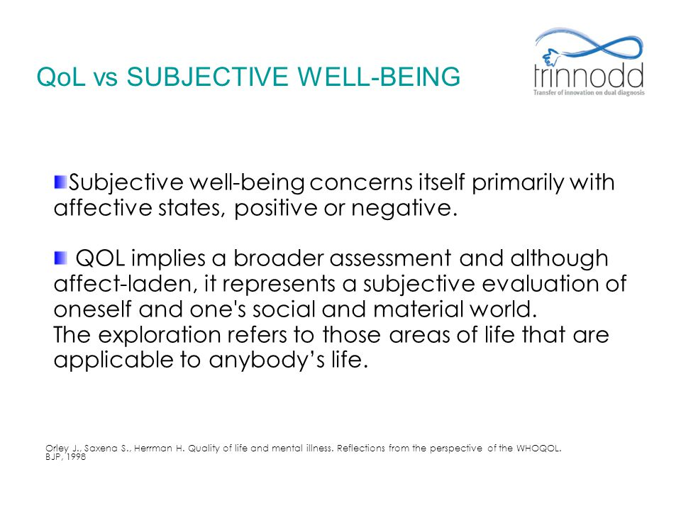 QoL vs SUBJECTIVE WELL-BEING