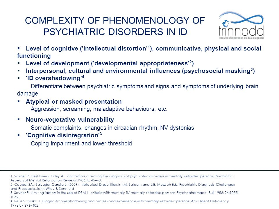 COMPLEXITY OF PHENOMENOLOGY OF PSYCHIATRIC DISORDERS IN ID