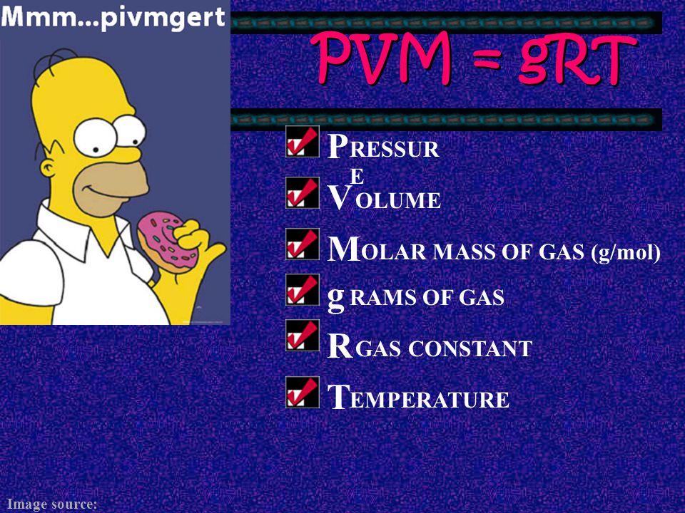 PVM = gRT P V M g R T RESSURE OLUME OLAR MASS OF GAS (g/mol)