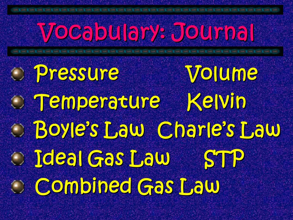 Vocabulary: Journal Pressure Volume Temperature Kelvin