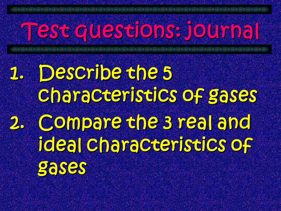 Test questions: journal