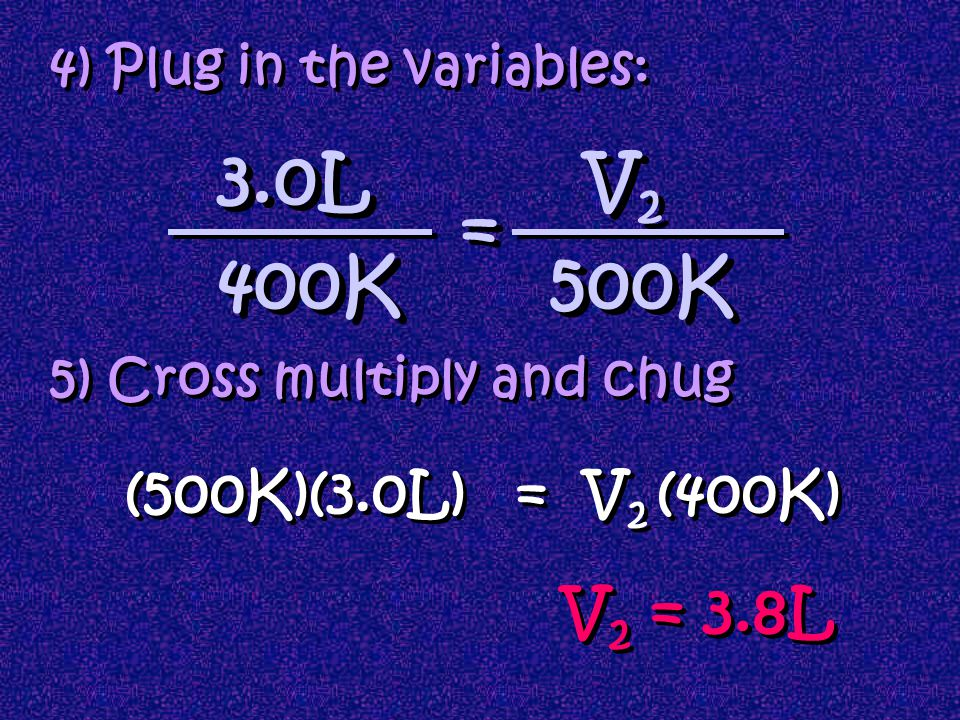 4) Plug in the variables: