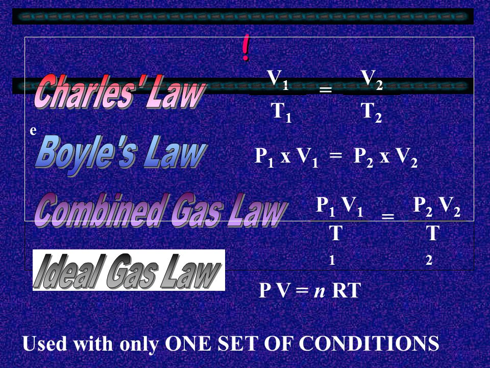 ! Charles Law Boyle s Law Combined Gas Law Ideal Gas Law V1 T1 = V2