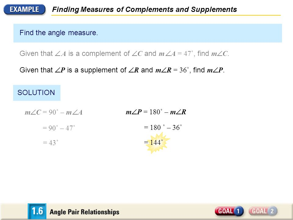 Finding Measures of Complements and Supplements