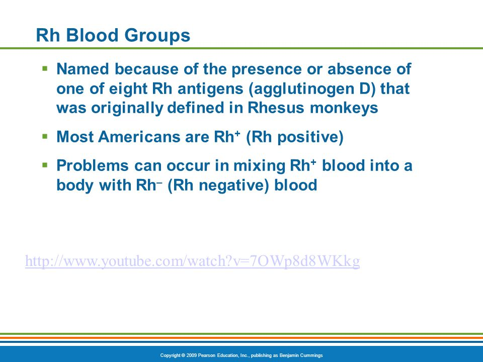 Rh Blood Groups Named because of the presence or absence of one of eight Rh antigens (agglutinogen D) that was originally defined in Rhesus monkeys.