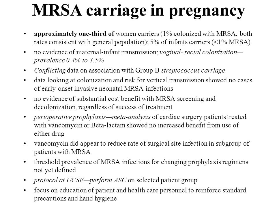 MRSA carriage in pregnancy