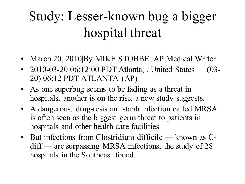 Study: Lesser-known bug a bigger hospital threat