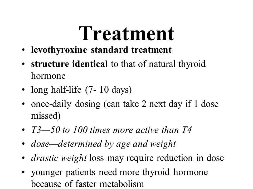 Treatment levothyroxine standard treatment