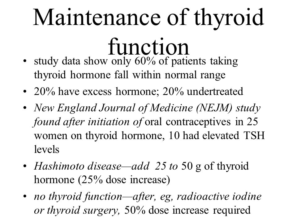 Maintenance of thyroid function