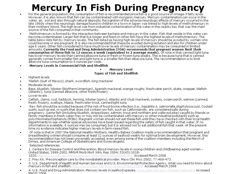 Mercury In Fish During Pregnancy