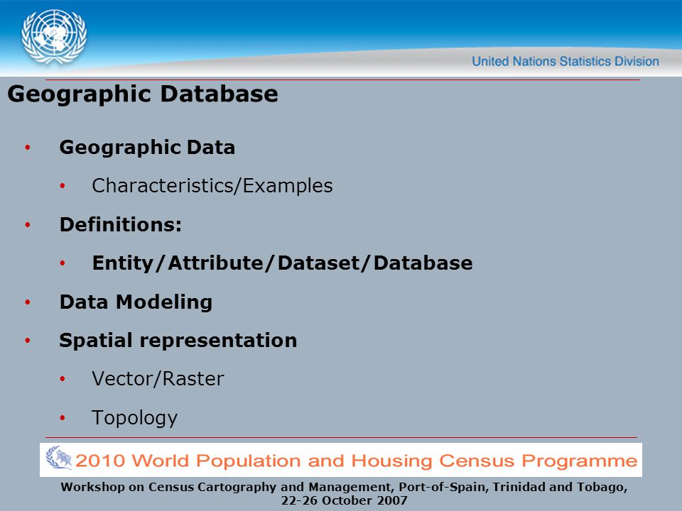 Geographic Database Geographic Data Characteristics/Examples