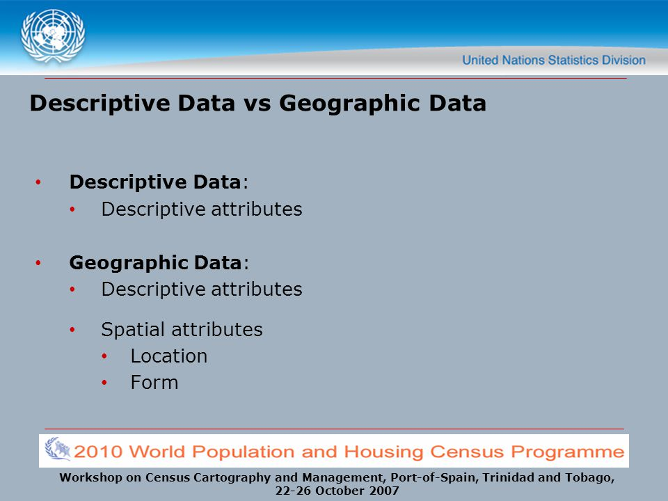 Descriptive Data vs Geographic Data