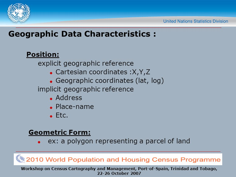 Geographic Data Characteristics :